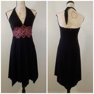 Bebe Dress Size S Black Halter Red Leather Accent